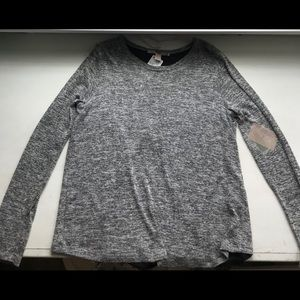 Heather grey sweater with shear back